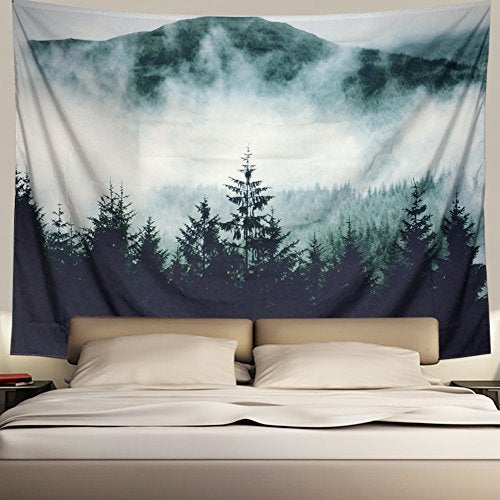 Misty Forest and Mountains Tapestry