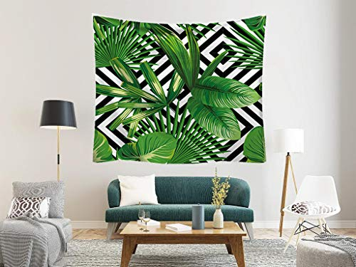 Geometric Palm Leaves Tapestry