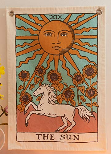 Tarot Flag Tapestry - The Sun, The Moon and The Star