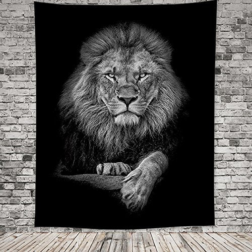 Black and White Lion Tapestry