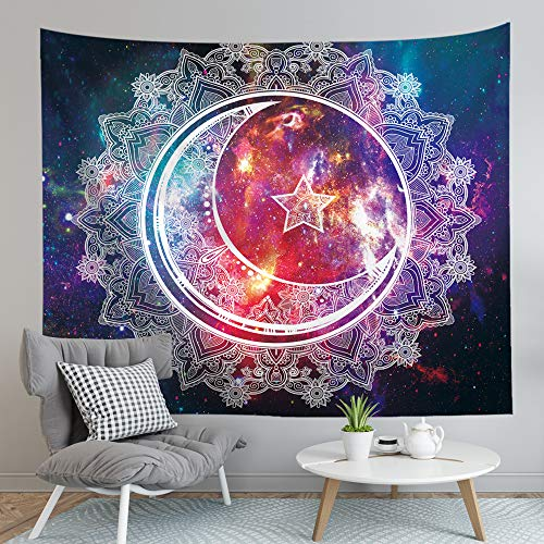 Psychedelic Moon Mandala Tapestry