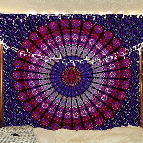 Purple Pink Psychedelic Peacock Mandala Tapestry