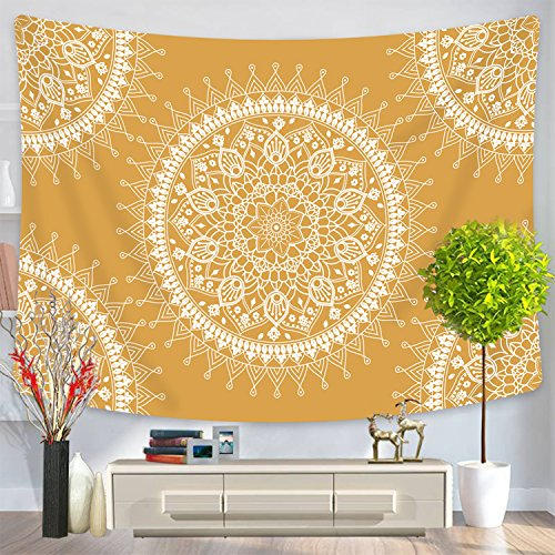 Yellow Mandala Tapestry