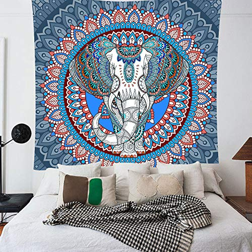 Blue Indian Elephant Tapestry