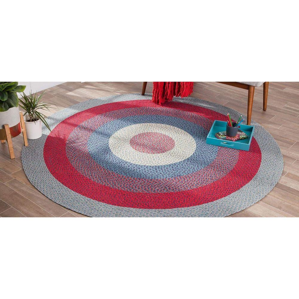 Round Gray, Blue, Red Blend Jute Rug
