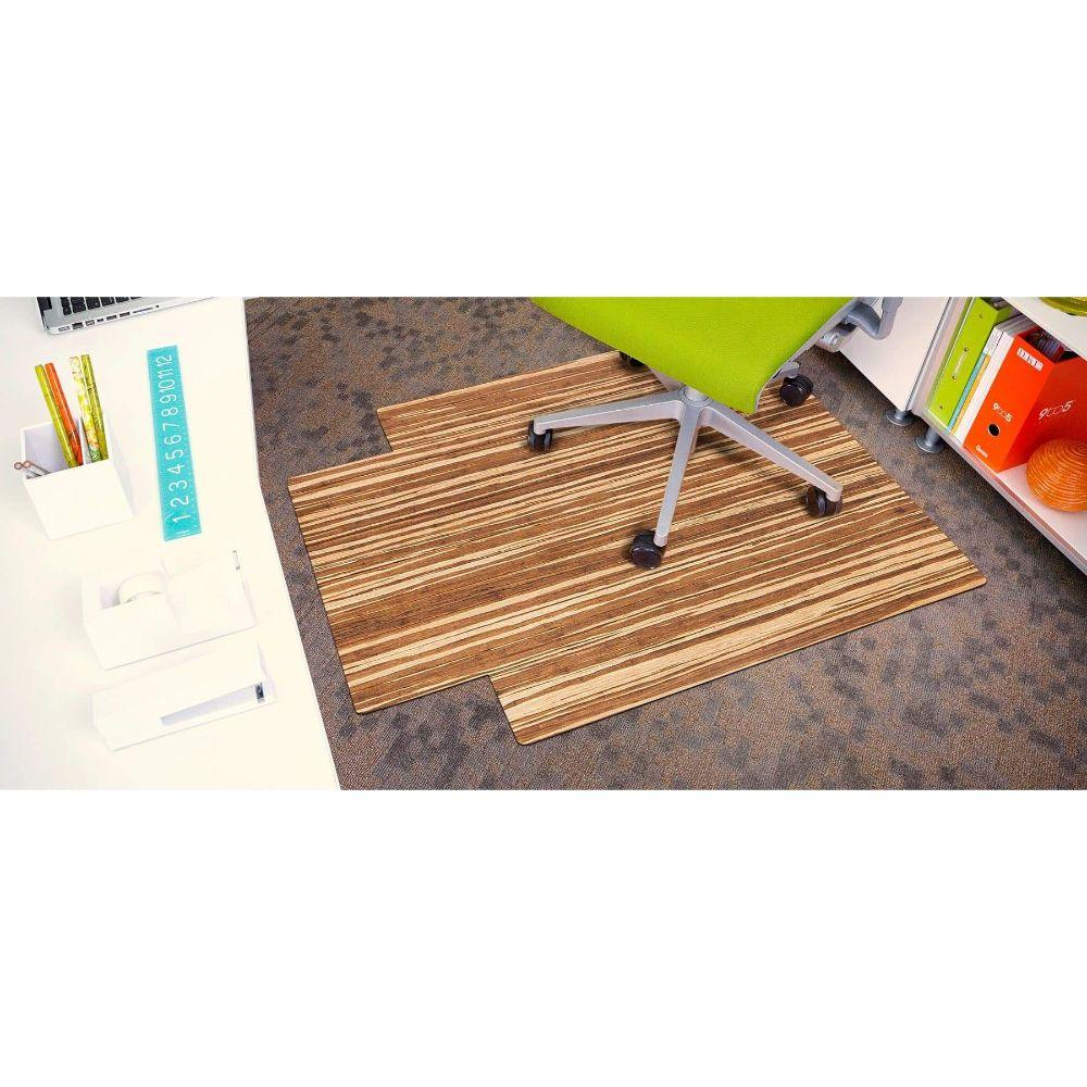 Strand-Woven Bamboo Roll-Up Chairmat, with lip