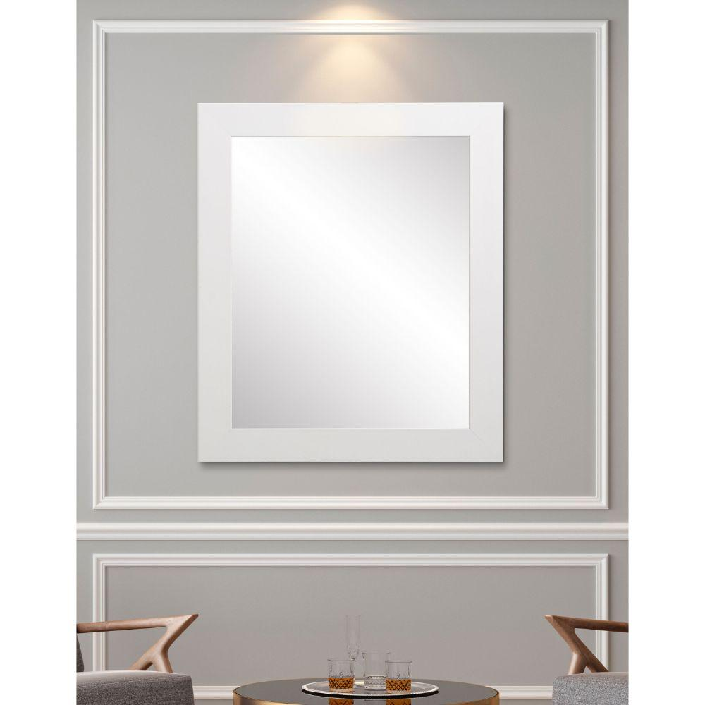 Commercial Value White Lobby Framed Wall Mirror 32''x 38''