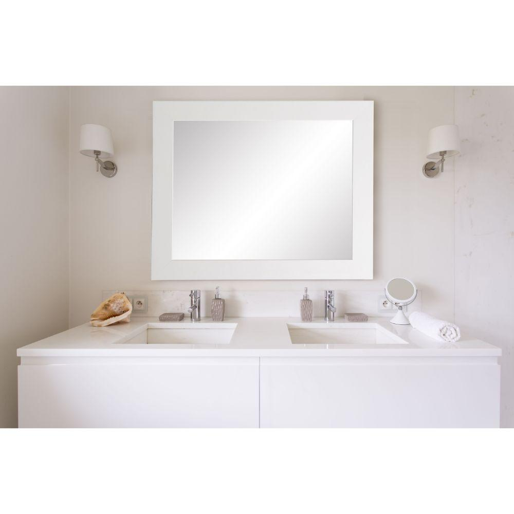 Pure White Entry Way Framed Wall Mirror
