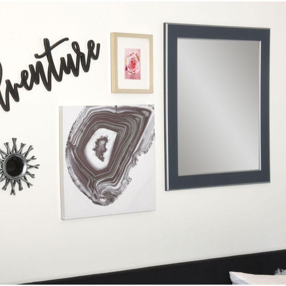 Silver Accent Black Framed Vanity Wall Mirror