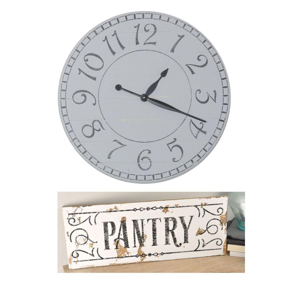 2 Piece Farmhouse Set- 24 inch Gray Wall Clock and White Wood Pantry Sign