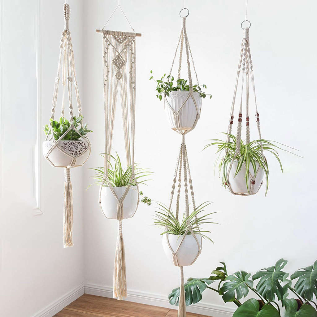 Pack of 4 Hanging Plant Macrame