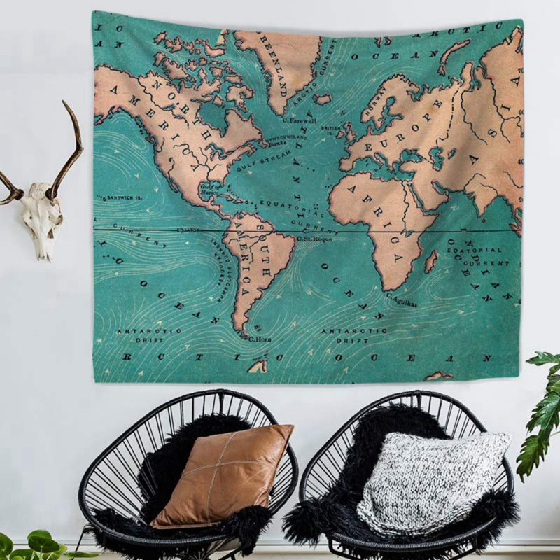 Retro Map Tapestry