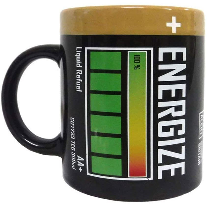 Energize Battery Mug Novelty Coffee Tea Cup