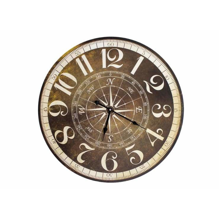 23 Round Wall Clock With Compass Rose Motif - Desk or Wall Clock