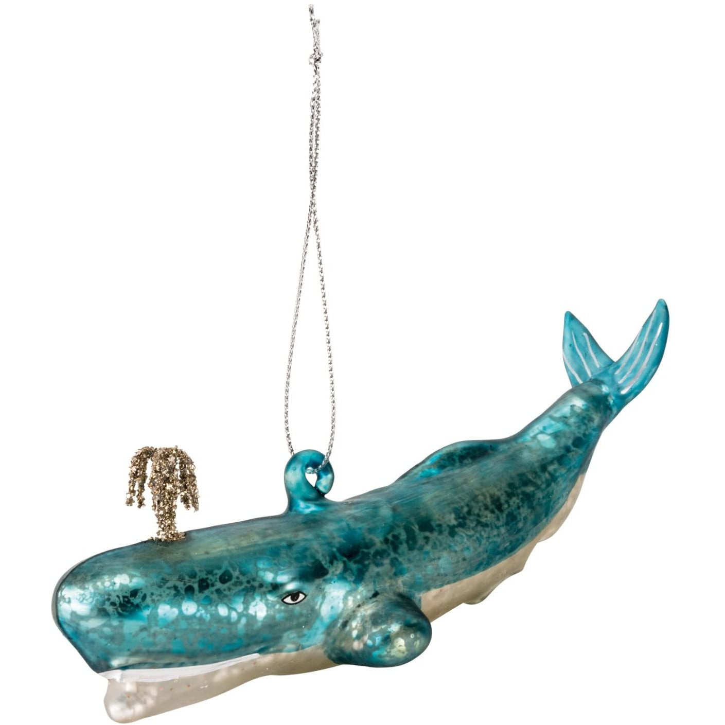Whale Themed Glass Christmas Ornament