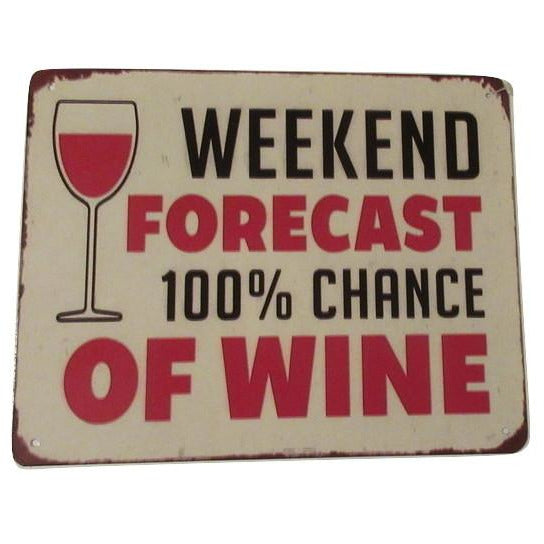 Whimsical - WEEKEND FORECAST 100% CHANCE OF WINE- Sign