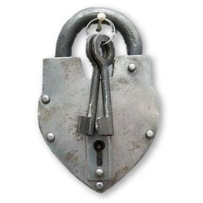 Antique Reproduction Heart Padlock with 2 Skeleton Keys - Padlocks