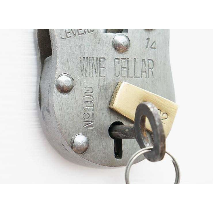 Antique Style Wine Cellar Padlock with 2 Skeleton Keys - Padlocks