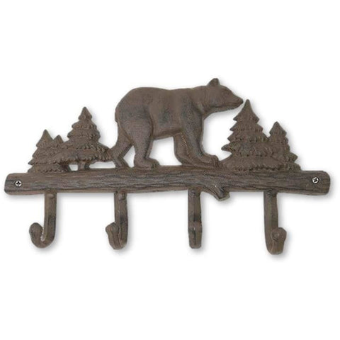Cast Iron Bear Wall Key Rack Holder 4 Hooks Coat Hook Home Decor - coat rack