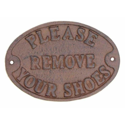 Cast Iron PLEASE REMOVE YOUR SHOES Sign - signs