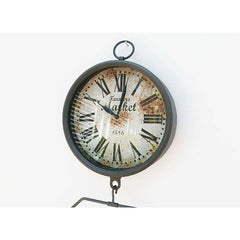 Farmers Market Clock with Hanging Fruit Basket - Vintage Scale Design - clock