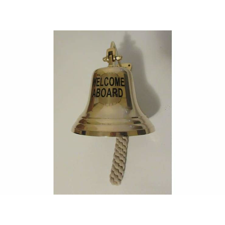 Large Brass WELCOME ABOARD Hanging Bell - Hanging Bell
