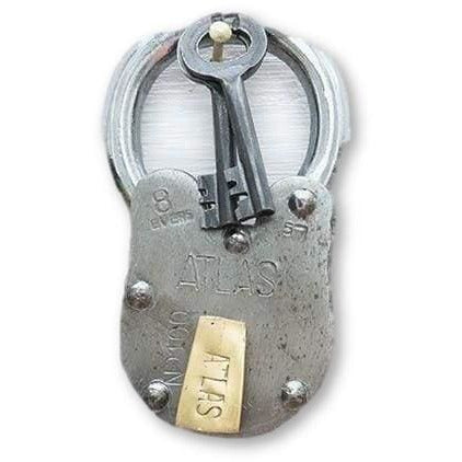 Large Iron Antique Style Replica Atlas Padlock with 2 Keys - Padlocks