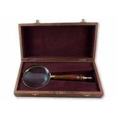 Large Wood Handle Brass Magnifying Glass with Wooden Storage Box - Magnifying Glass