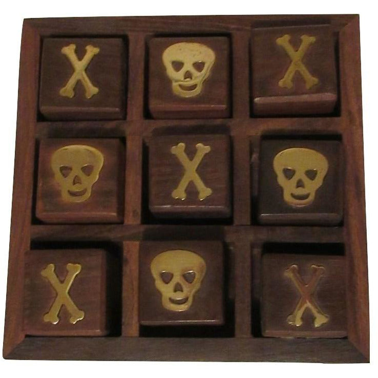 Wood Skull & Crossbones Theme Tic Tac Toe Portable Game Board Set