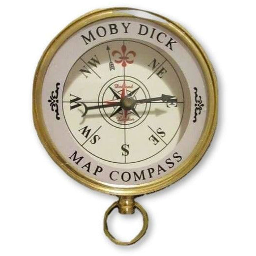 Polished Brass MOBY DICK MAP COMPASS - Compass