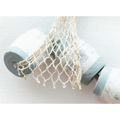 Set of 5 Wood Buoys & Fishing Net