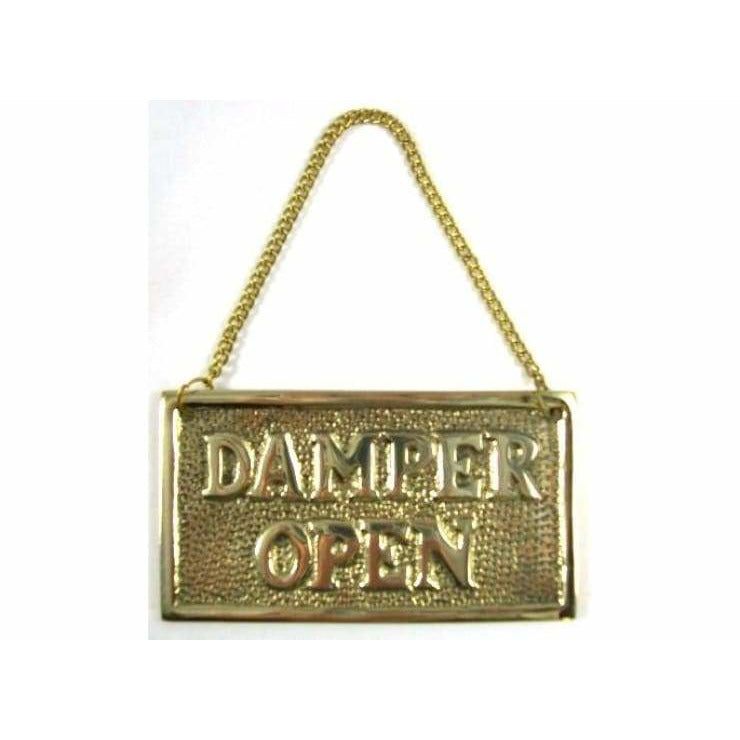 Solid Brass Hanging Fireplace Damper Open / Closed Sign - signs