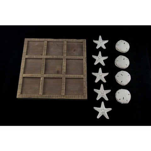 Tic Tac Toe Board Game with Starfish & Sand Dollar Pieces - table accent piece