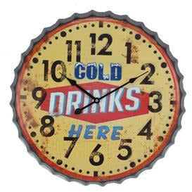 Metal COLD DRINKS HERE Hanging Wall Clock