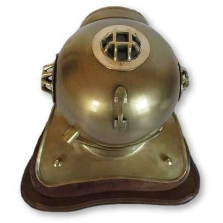 Vintage Style Divers Helmet Table Clock on Wooden Base - clock