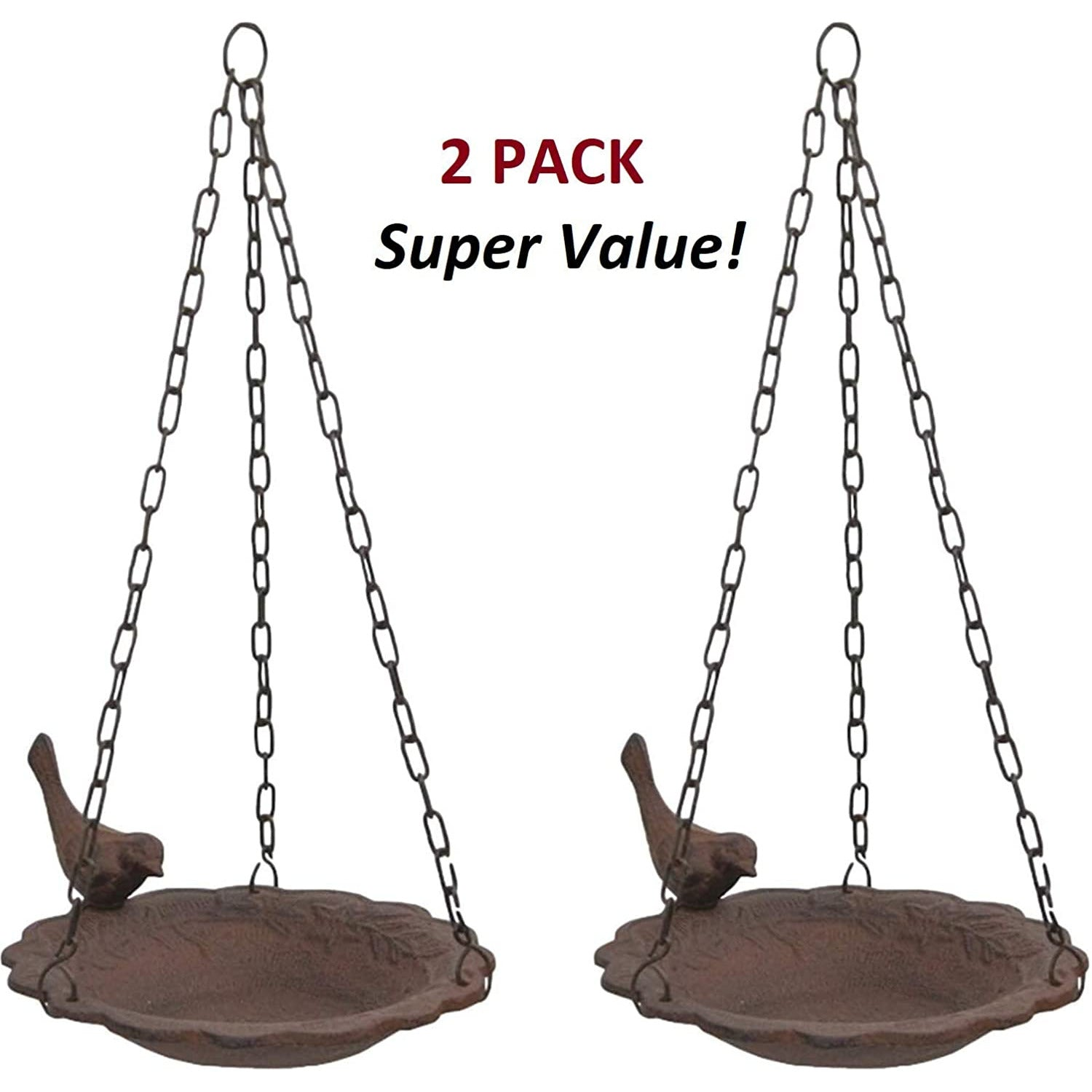 2 Pack - Hanging Cast Iron Birdbath/Feeder