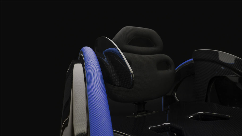 Carbon Black ii wheelchair, showing blue detailing