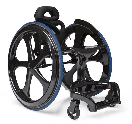 The Carbon Black II, a carbon fibre, active wheelchair with blue-rimmed wheels