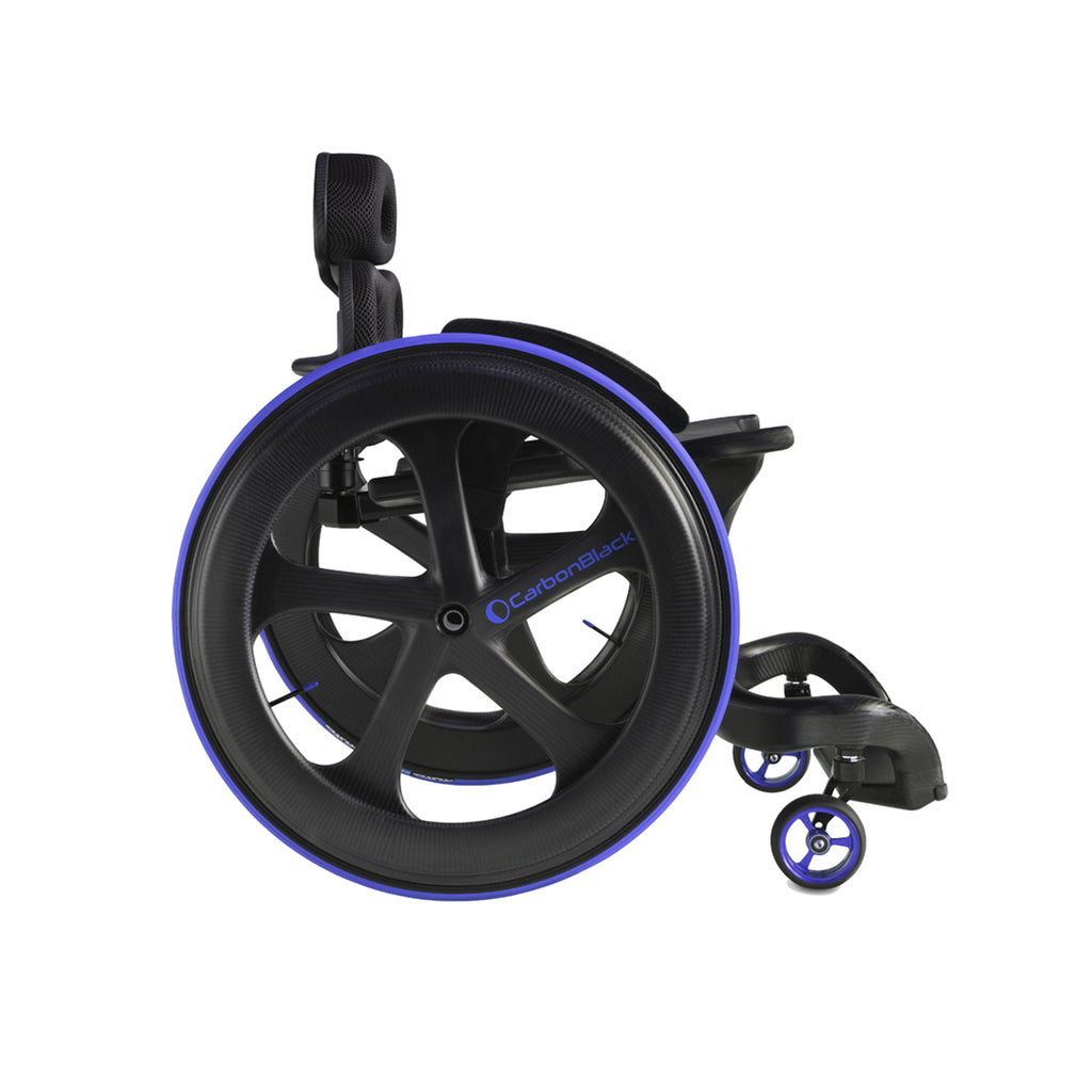 Side-on view of Carbon Black II Wheelchair with purple wheel trim