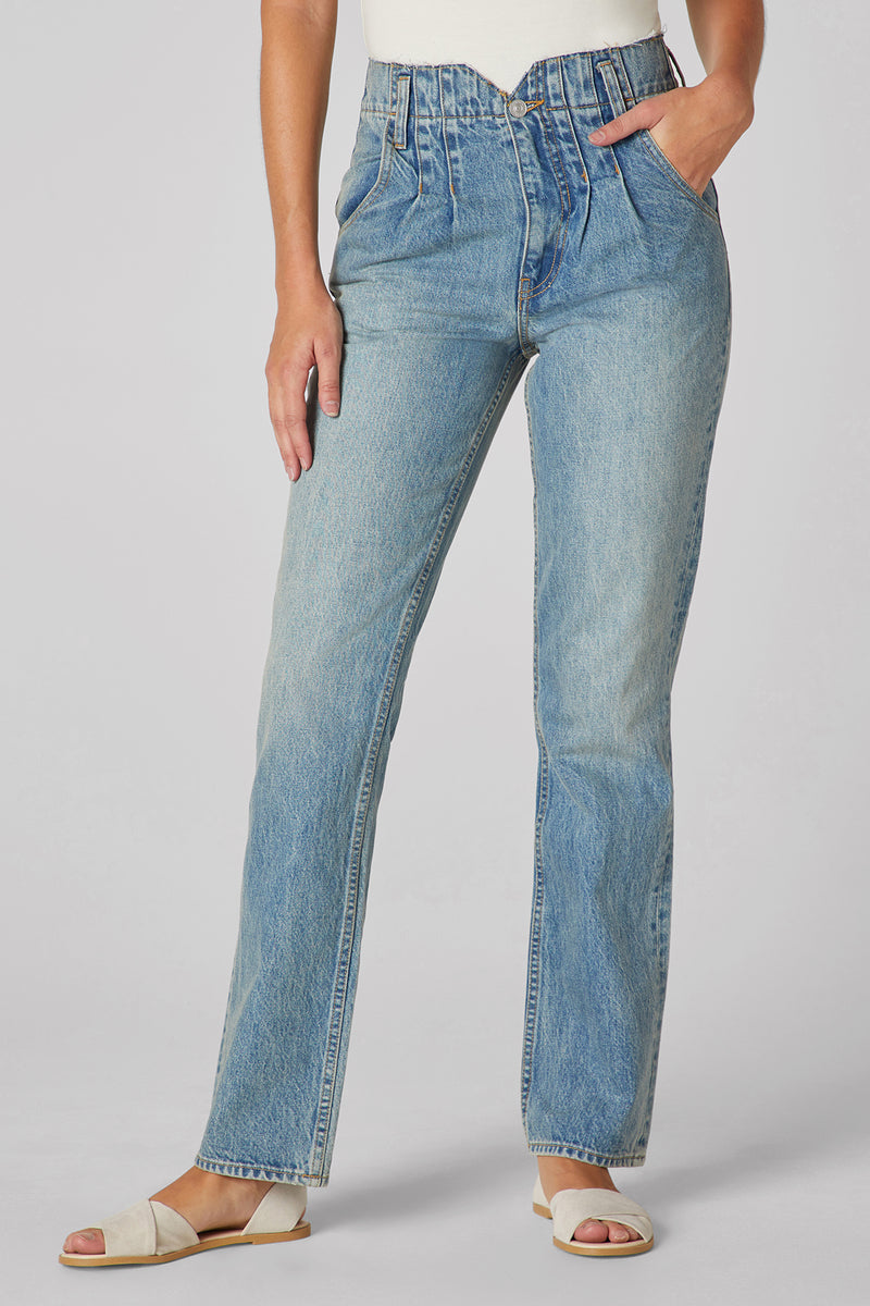Pleated Denim Jean