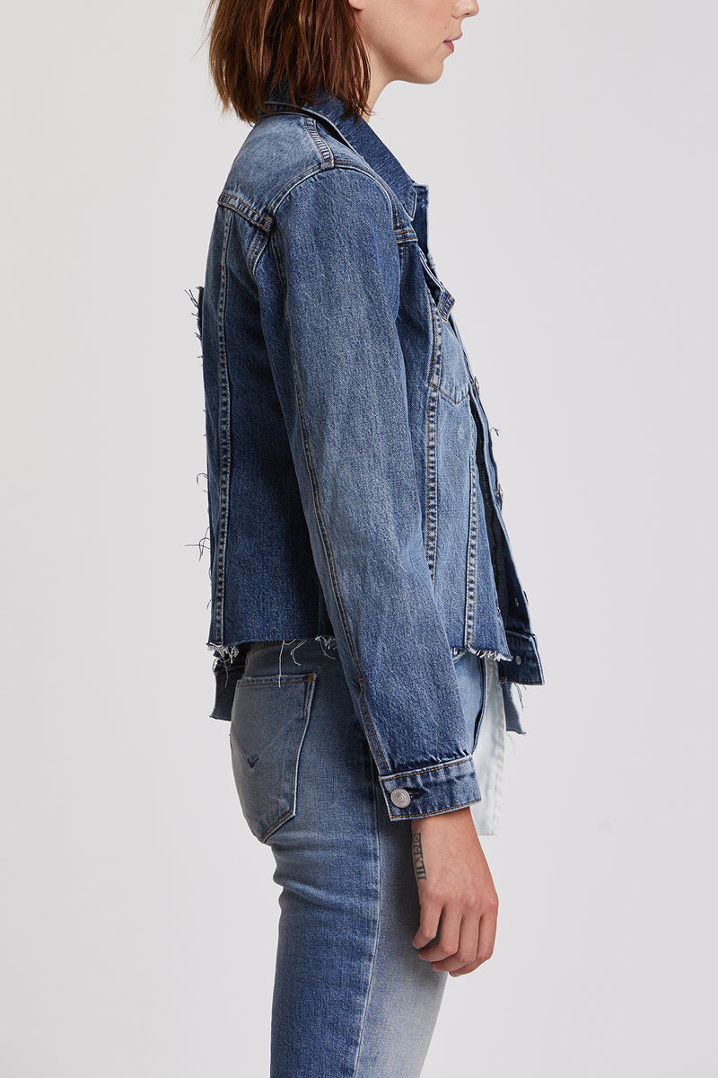 Classic Fitted Spliced Trucker Jacket
