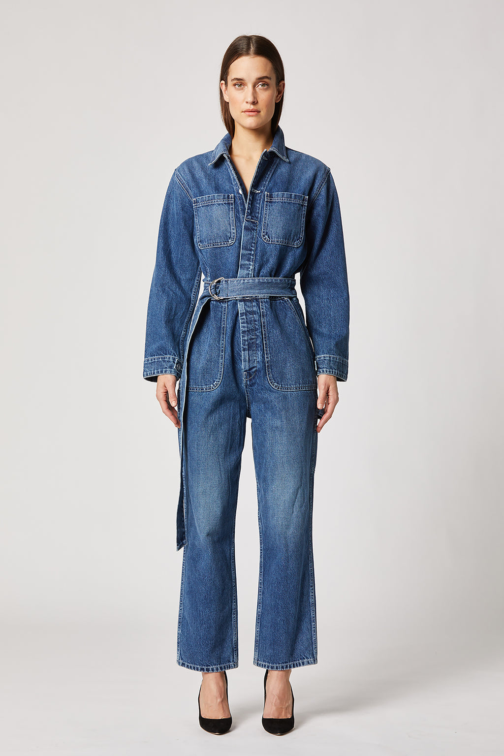Denim Crop Jumpsuit
