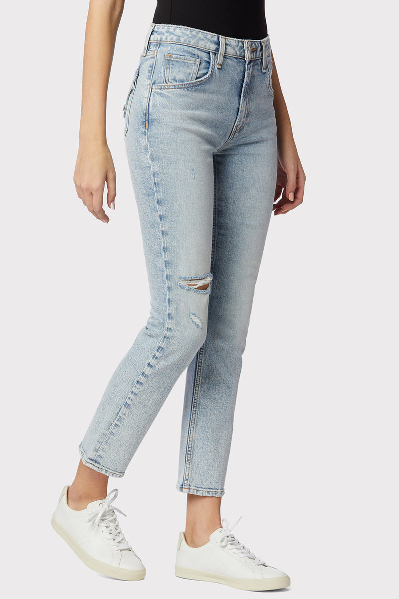Iona High-Rise Straight Flap Jean