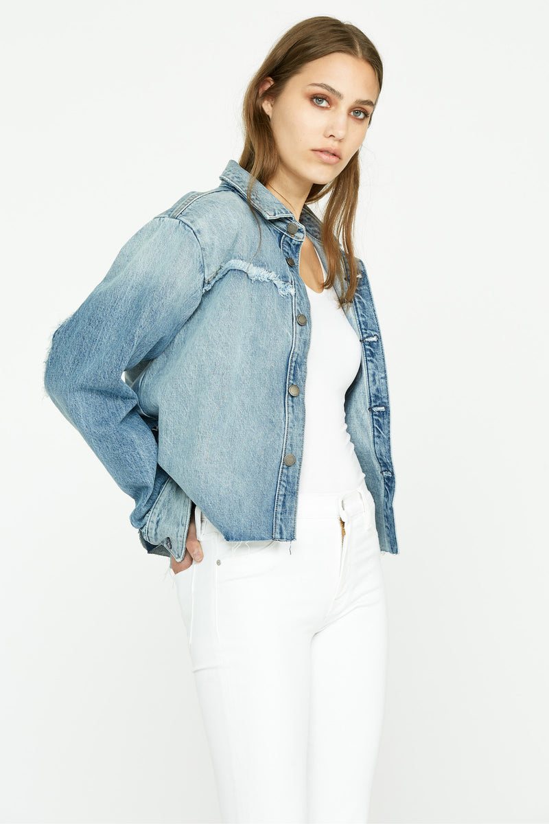 Denim Two-Tone Shirt Jacket