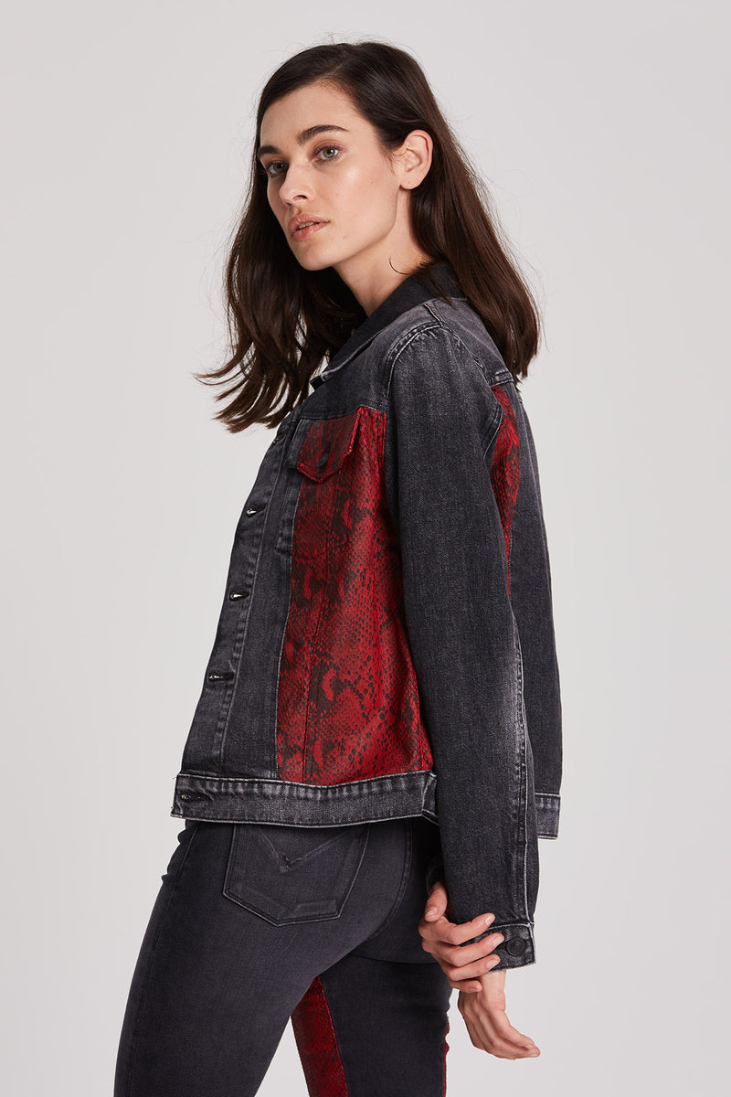 Classic Fitted Snake Print Trucker Jacket