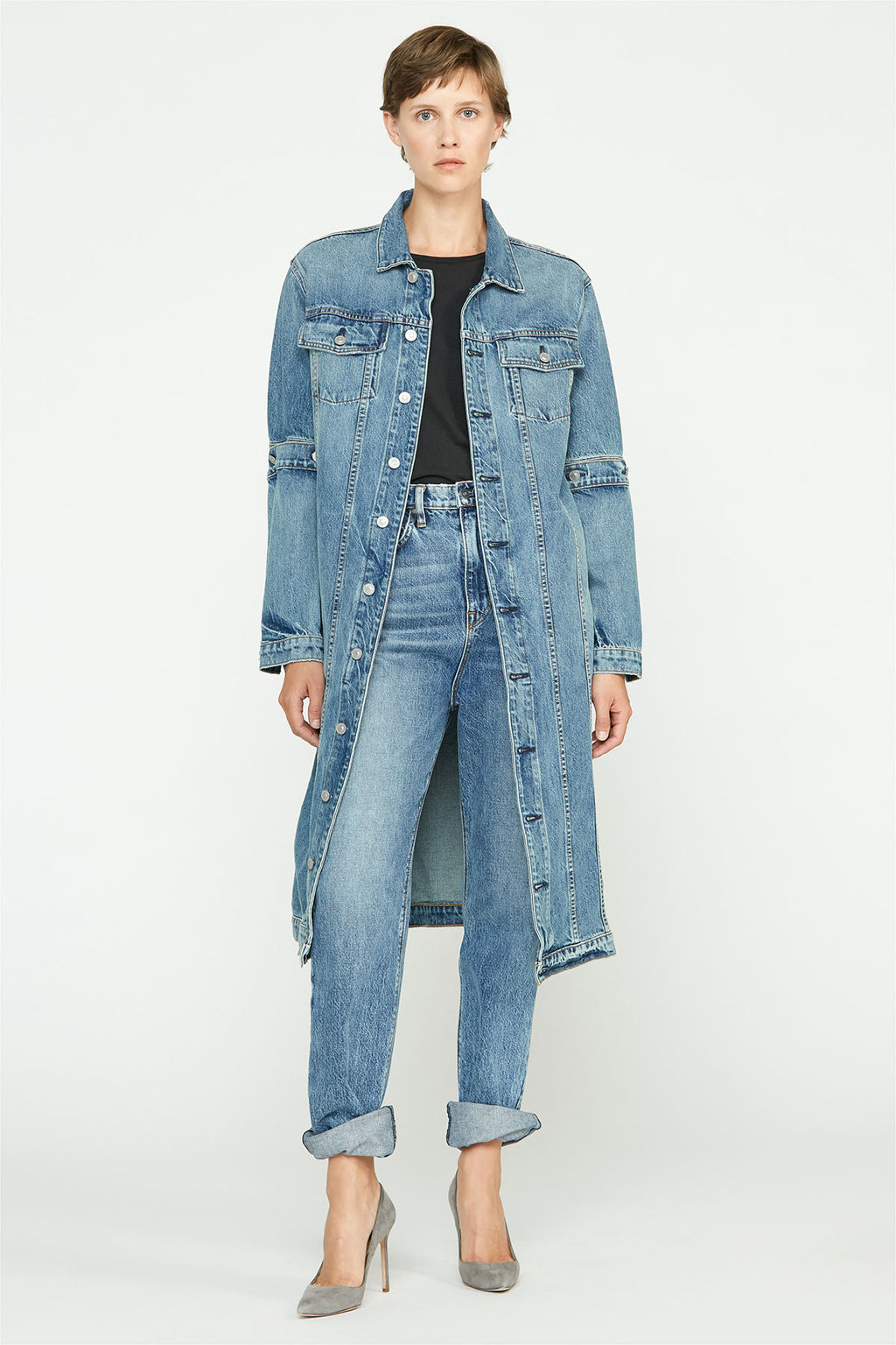 Convertible Long Denim Coat - hudsonjeans