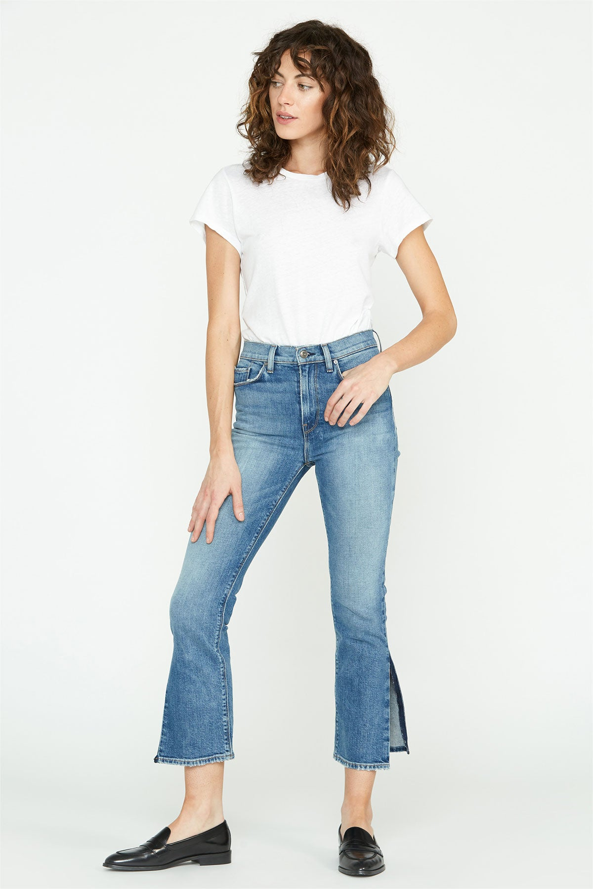 Holly High-Rise Side Slit Straight Crop Jean