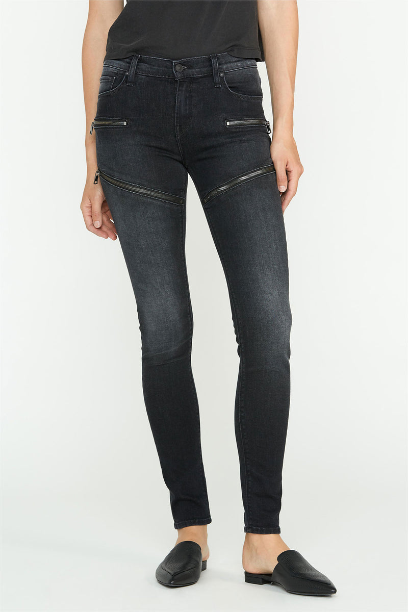 Nico Mid-Rise Exposed Front Zippers Super Skinny Jean - hudsonjeans