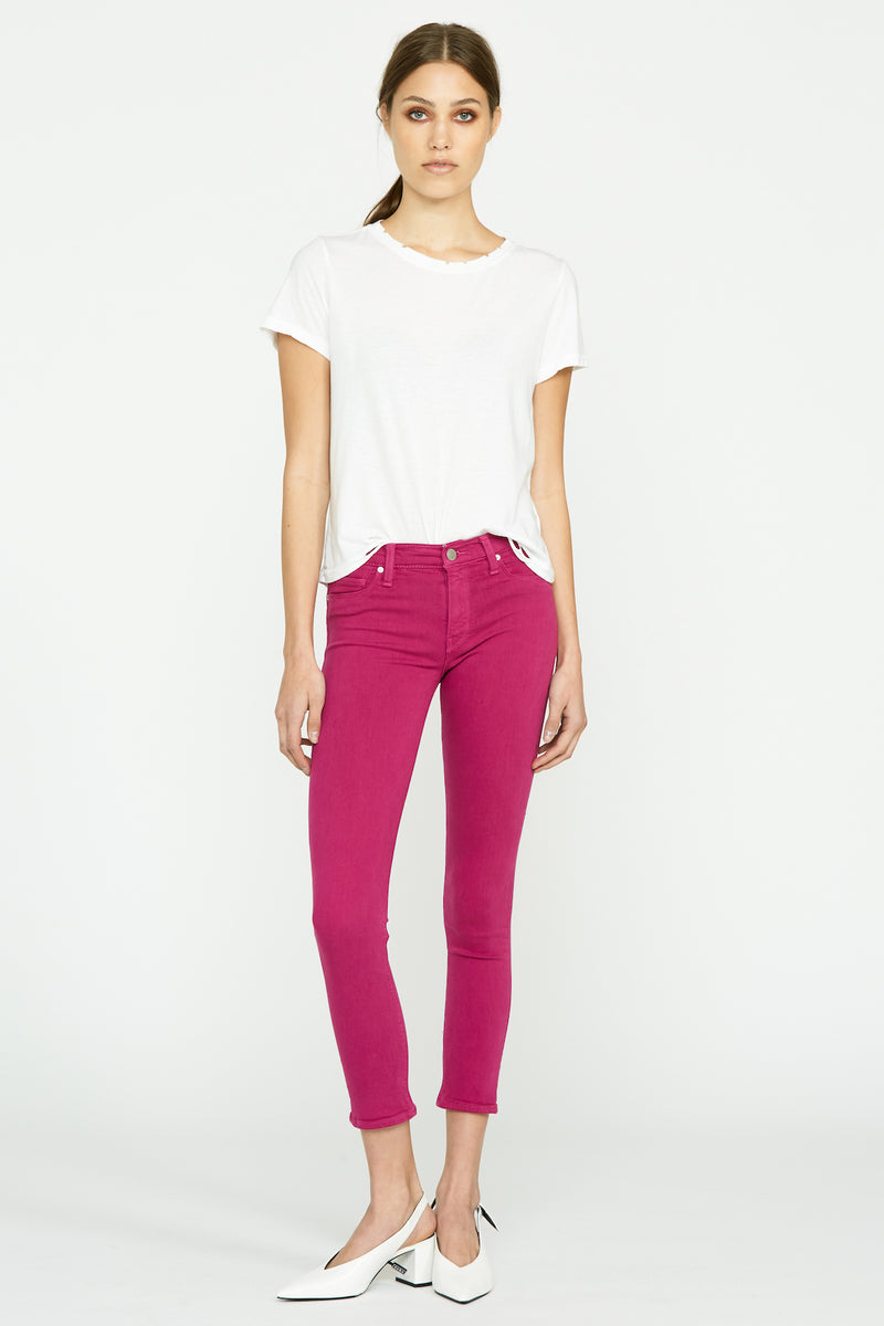 Barbara High-Rise Two-Tone Super Skinny Ankle Jean