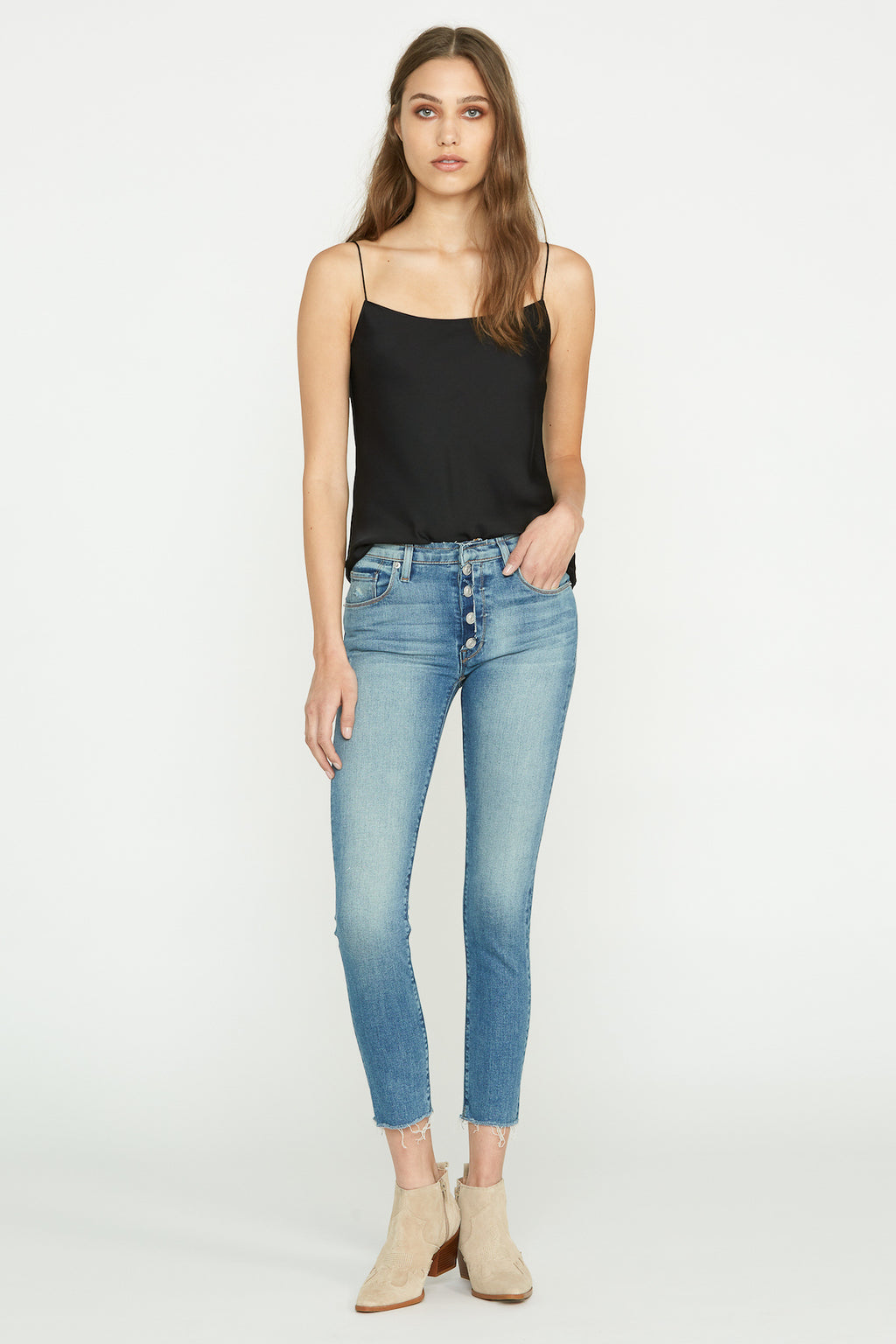 Nico Mid-Rise Exposed Button Fly Super Skinny Jean